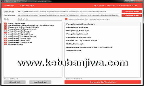 PES 2018 DpFileList Generator v1.0 by Baris Ketuban Jiwa