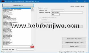PES 2018 Team Name Changer Tool v1.0 by Razor87 Ketuban Jiwa