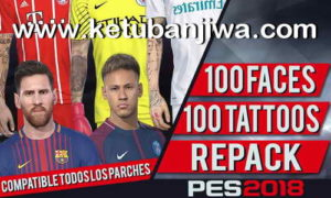 PES 2018 100 Faces + Tattoos Repack For PC by bmS Ketuban Jiwa