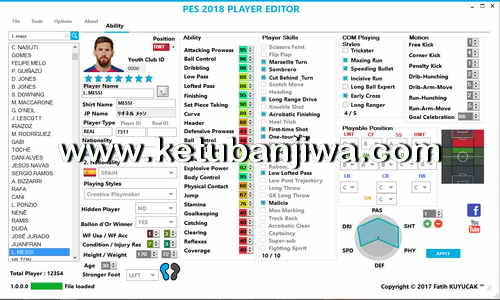 PES 2018 Player Editor v1 by Fatih Kuyucak Ketuban Jiwa
