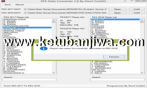 PES Stats Converter Tool v1.0 by Devil Cold52 Ketuban Jiwa