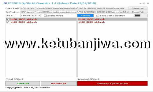 PES 2018 DpFileList Generator Tool v1.4 Final Version by MjTs-140914 Ketuban Jiwa