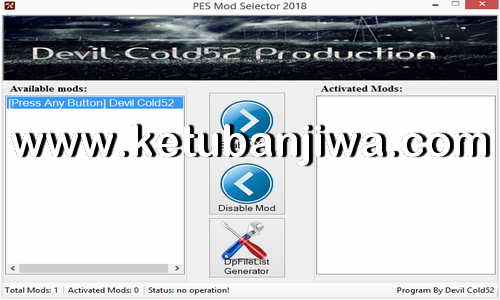 PES 2018 Mod Selector Tool For PC by Devil Cold52 Ketuban Jiwa