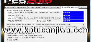 PES 2019 Settings.exe For Check PC Specifications