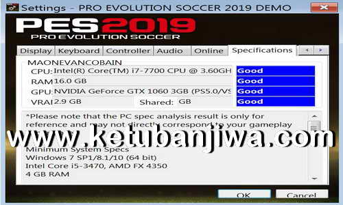 PES 2019 Settings exe For Check PC Specifications
