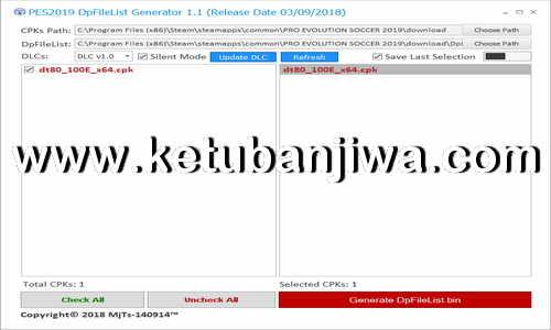 PES 2019 DpFileList Generator Tools v1.1 by MjTs-140914 Ketuban Jiwa