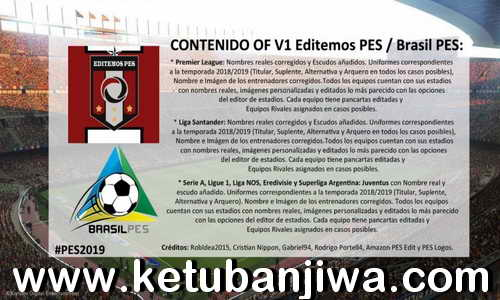 PES 2019 PS4 Option File v1 by Editemos PES Ketuban Jiwa