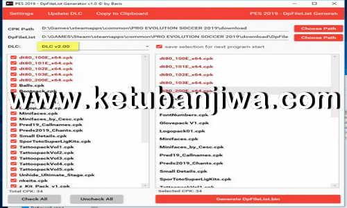 PES 2019 DpFileList Generator Tool v1.1 For DLC 2.0 by Baris Ketuban Jiwa