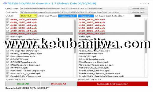 PES 2019 DpFileList Generator 1.1 For DLC 3.0 by Baris Ketuban Jiwa