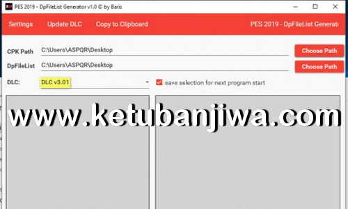 PES 2019 DpFileList Generator 1.1 For DLC 3.01 by Baris Ketuban Jiwa
