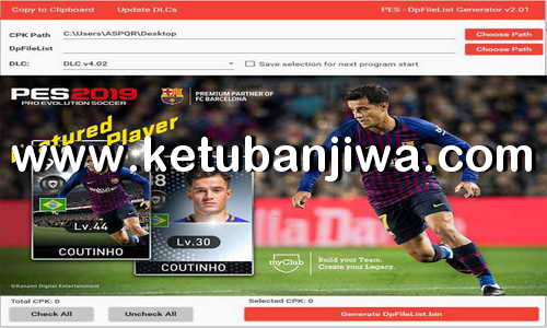 PES 2019 DpFileList Generator Tool v2.1 For DLC v5.0 by Baris Ketuban Jiwa