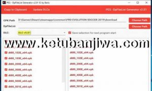 PES 2019 DpFileList Generator Tool v2.1 For DLC v5.01 by Baris Ketuban Jiwa