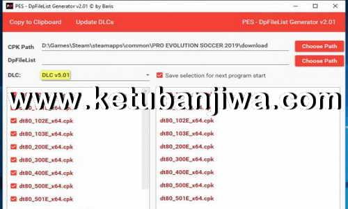 PES 2019 DpFileList Generator Tool v2.1 For DLC v5.01 by Baris Ketuban Jiwa