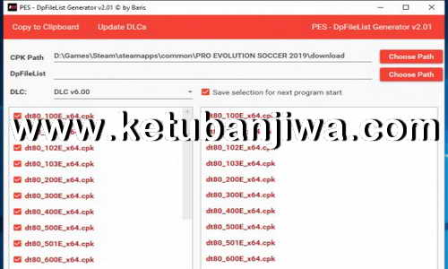 PES 2019 DpFileList Generator Tool 2.1 For DLC 6.0 by Baris Ketuban Jiwa