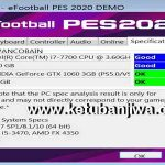 PES 2020 Settings.exe For Check Specifications