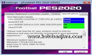 PES 2020 Settings exe For Check PC Specifications