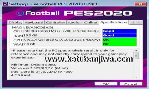 PES 2020 Settings.exe For Check PC Specifications