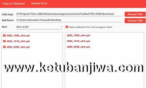 eFootball PES 2020 DpFileList Generator Tool v1.1 by Baris Ketuban Jiwa