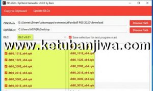 PES 2020 DpFileList Generator Tools For DLC 3.01 by Baris Ketuban Jiwa