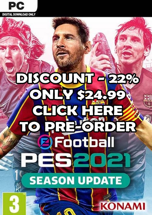Pre-Order PES 2021 For PC With -22% Discount