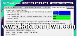 PES 2021 Settings.exe For Check PC Specifications Ketuban Jiwa