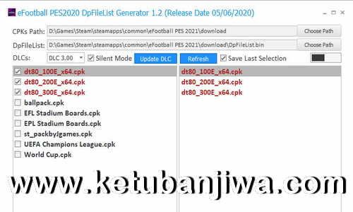 PES 2021 DpFileList Generator Tools 1.0 For DLC 3.0 Keuban Jiwa