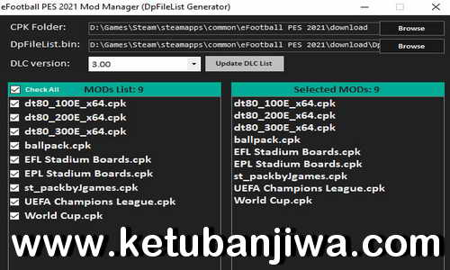 PES 2021 Mod Manager Tools 1.0 For DLC 3.0