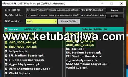 PES 2021 Mod Manager Tools 1.0 For DLC 4.0 by StpN-17 Ketuban Jiwa