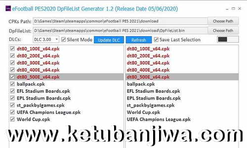 PES 2021 DpFileList Generator 1.0 For DLC 5.0 Ketuban Jiwa